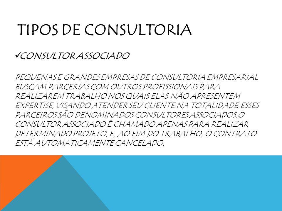 TIPOS DE CONSULTORIA CONSULTOR ASSOCIADO PEQUENAS E GRANDES EMPRESAS DE CONSULTORIA EMPRESARIAL BUSCAM PARCERIAS COM OUTROS PROFISSIONAIS PARA REALIZA