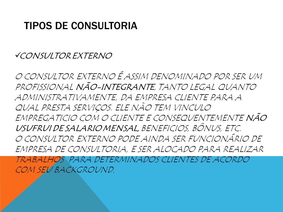 TIPOS DE CONSULTORIA CONSULTOR EXTERNO O CONSULTOR EXTERNO É ASSIM DENOMINADO POR SER UM PROFISSIONAL NÃO-INTEGRANTE, TANTO LEGAL QUANTO ADMINISTRATIV