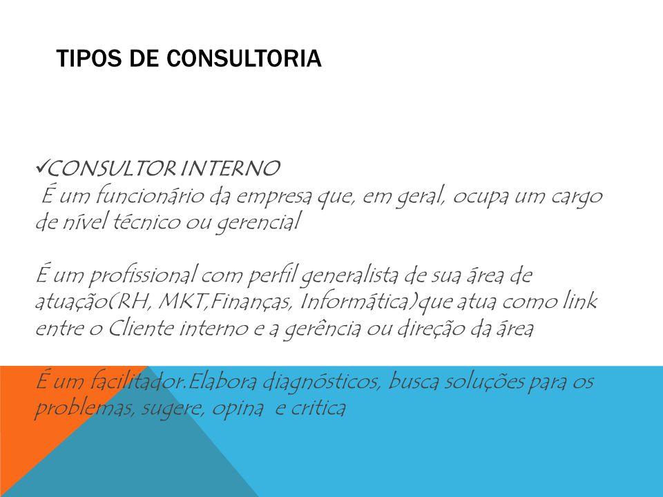TIPOS DE CONSULTORIA CONSULTOR INTERNO É um funcionário da empresa que, em geral, ocupa um cargo de nível técnico ou gerencial É um profissional com p