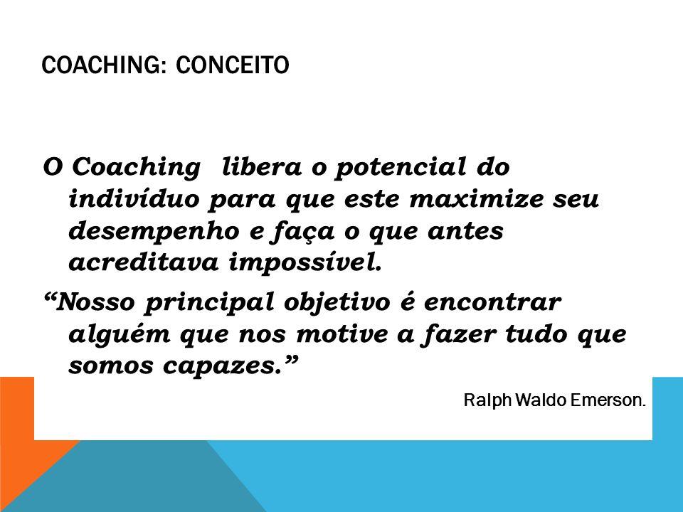 COACHING: CONCEITO O Coaching libera o potencial do indivíduo para que este maximize seu desempenho e faça o que antes acreditava impossível. Nosso pr