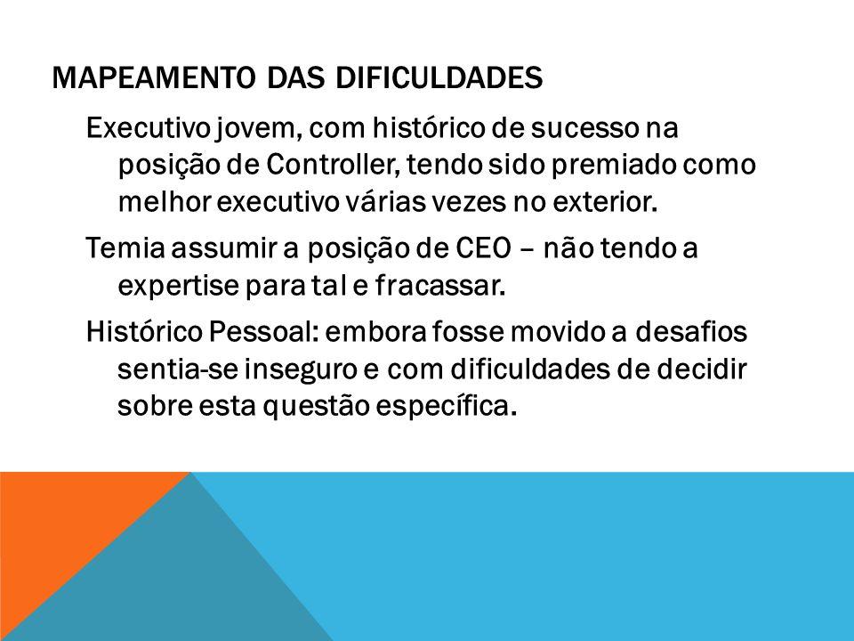 MAPEAMENTO DAS DIFICULDADES Executivo jovem, com histórico de sucesso na posição de Controller, tendo sido premiado como melhor executivo várias vezes