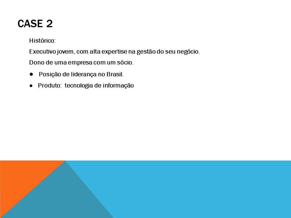 CASE 2 Histórico: Executivo jovem, com alta expertise na gestão do seu negócio. Dono de uma empresa com um sócio. Posição de liderança no Brasil. Prod