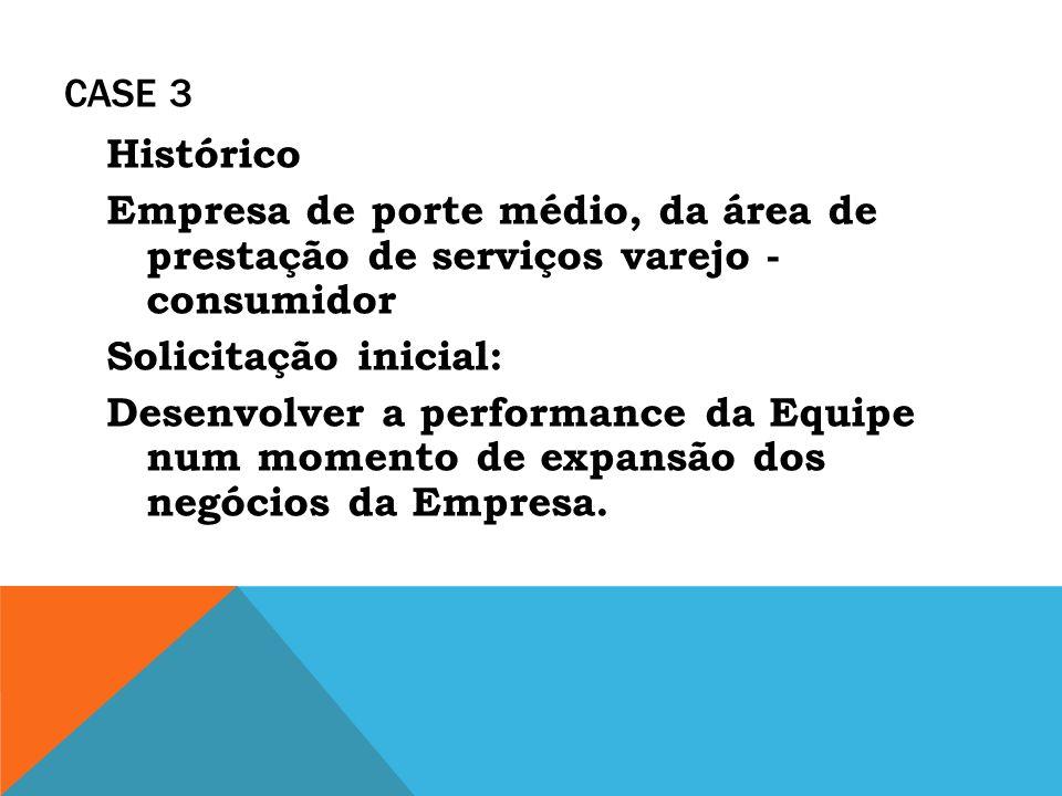 CASE 3 Histórico Empresa de porte médio, da área de prestação de serviços varejo - consumidor Solicitação inicial: Desenvolver a performance da Equipe
