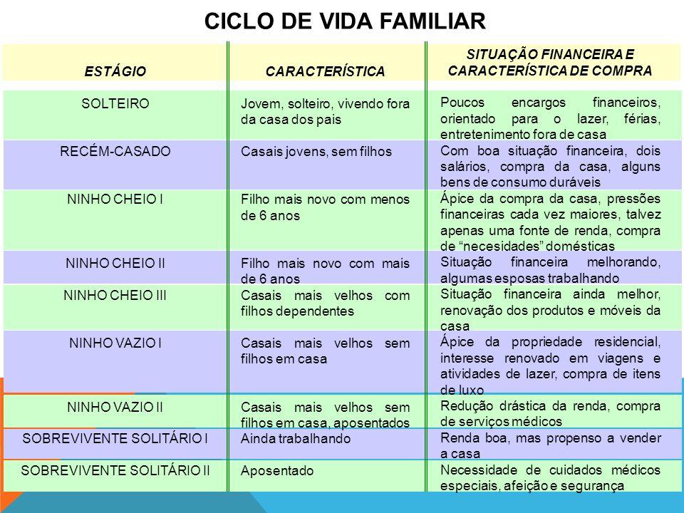 CICLO DE VIDA FAMILIAR ESTÁGIO SOLTEIRO RECÉM-CASADO NINHO CHEIO I NINHO CHEIO II NINHO CHEIO III NINHO VAZIO I NINHO VAZIO II SOBREVIVENTE SOLITÁRIO