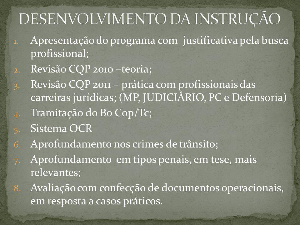 1. Apresentação do programa com justificativa pela busca profissional; 2.
