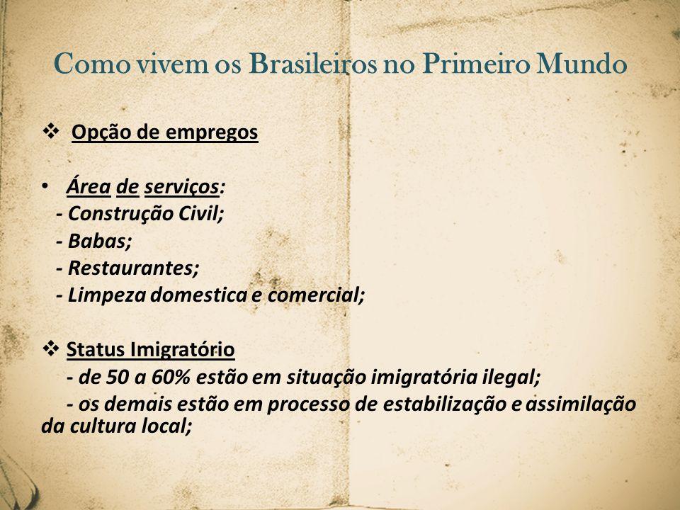 Opção de empregos Área de serviços: - Construção Civil; - Babas; - Restaurantes; - Limpeza domestica e comercial; Status Imigratório - de 50 a 60% est