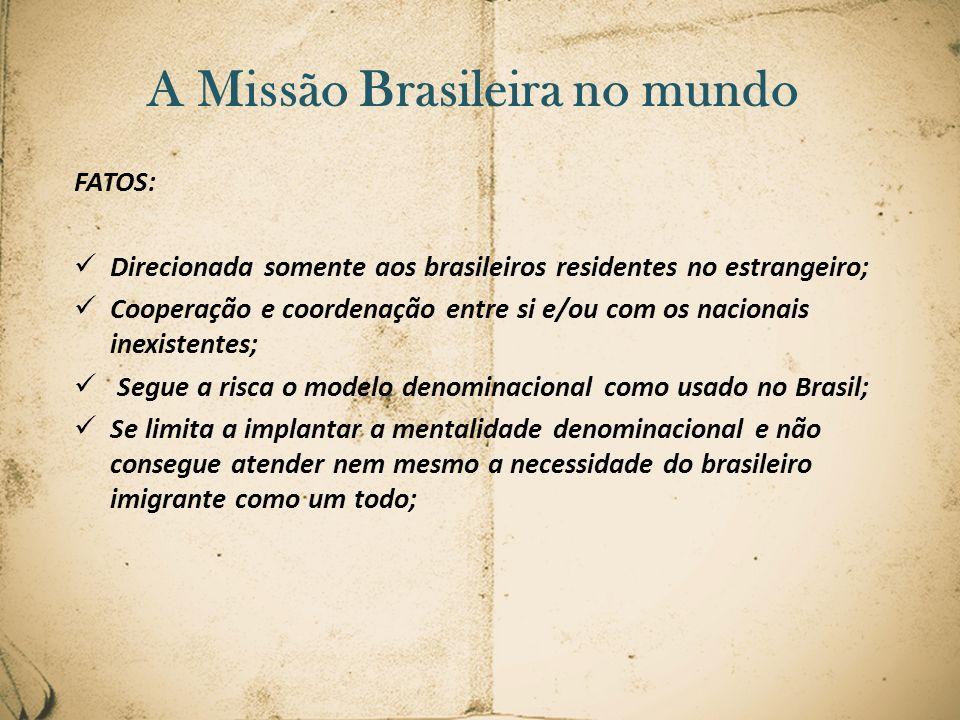 FATOS: Direcionada somente aos brasileiros residentes no estrangeiro; Cooperação e coordenação entre si e/ou com os nacionais inexistentes; Segue a ri