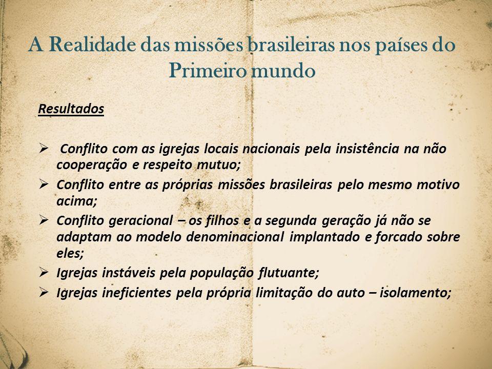 A Realidade das missões brasileiras nos países do Primeiro mundo Resultados Conflito com as igrejas locais nacionais pela insistência na não cooperaçã