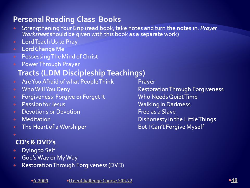 Personal Reading Class Books Strengthening Your Grip (read book, take notes and turn the notes in.