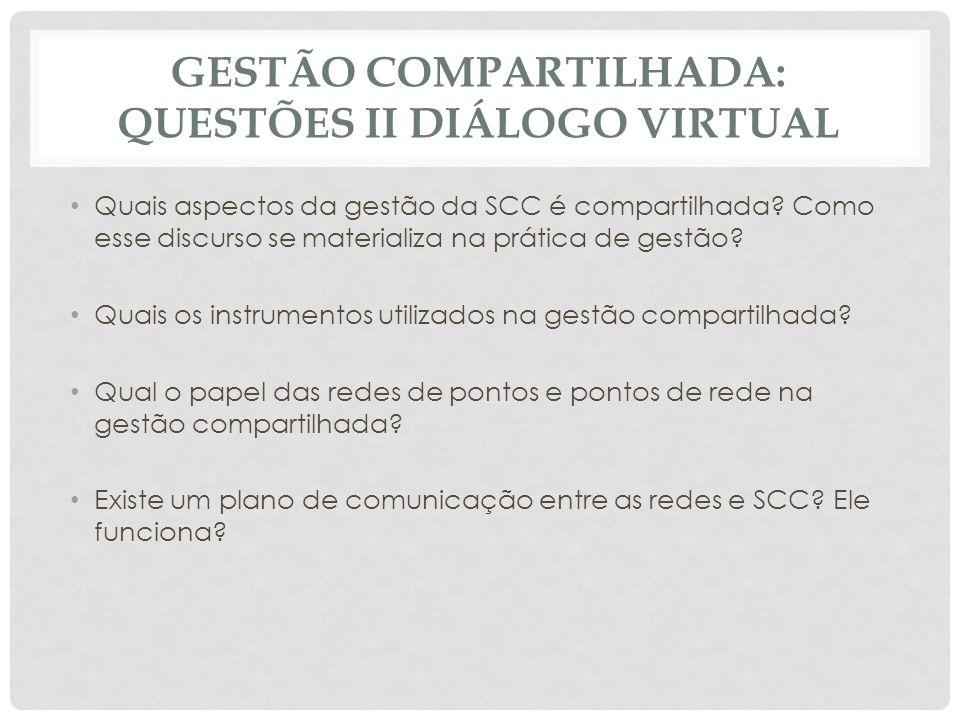GESTÃO COMPARTILHADA: QUESTÕES II DIÁLOGO VIRTUAL Quais aspectos da gestão da SCC é compartilhada.