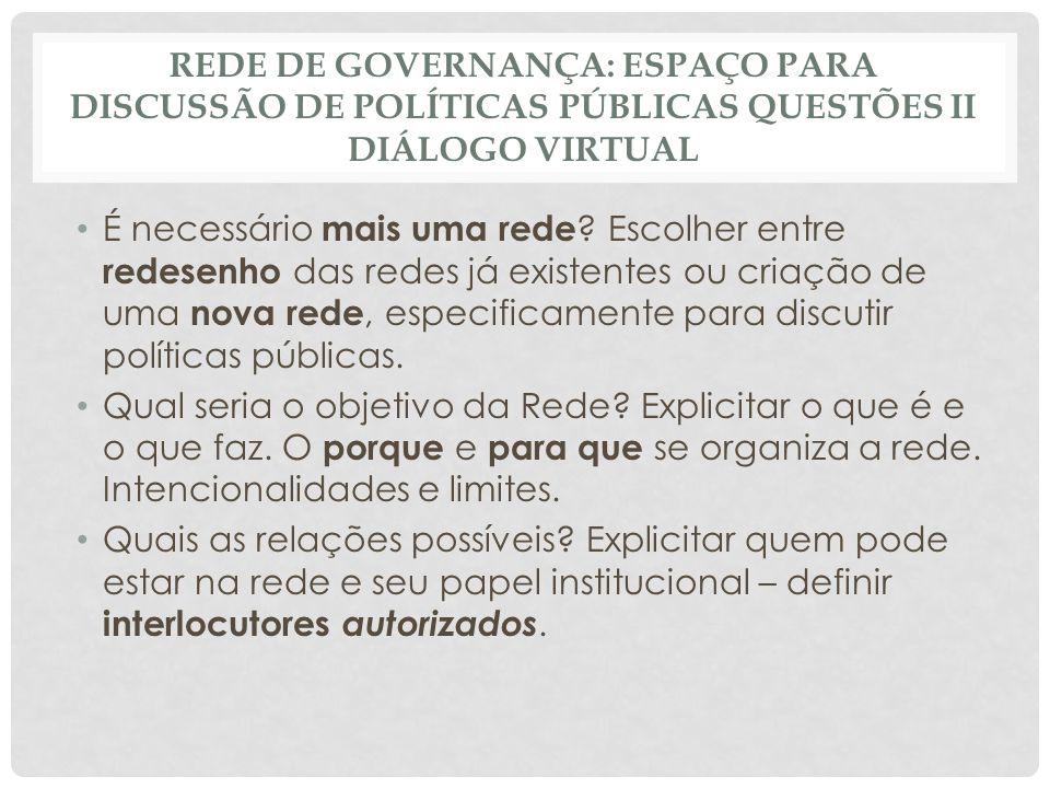 REDE DE GOVERNANÇA: ESPAÇO PARA DISCUSSÃO DE POLÍTICAS PÚBLICAS QUESTÕES II DIÁLOGO VIRTUAL É necessário mais uma rede .