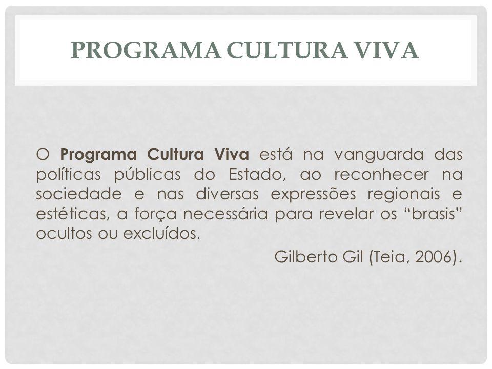 PROGRAMA CULTURA VIVA O Programa Cultura Viva está na vanguarda das políticas públicas do Estado, ao reconhecer na sociedade e nas diversas expressões regionais e estéticas, a força necessária para revelar os brasis ocultos ou excluídos.