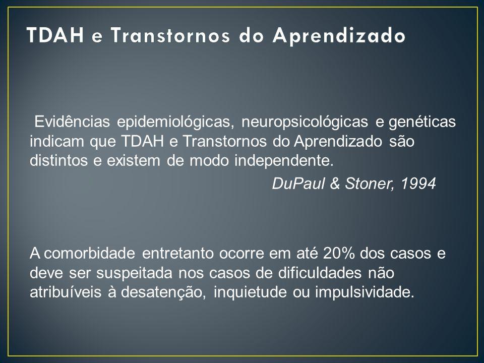 Evidências epidemiológicas, neuropsicológicas e genéticas indicam que TDAH e Transtornos do Aprendizado são distintos e existem de modo independente.
