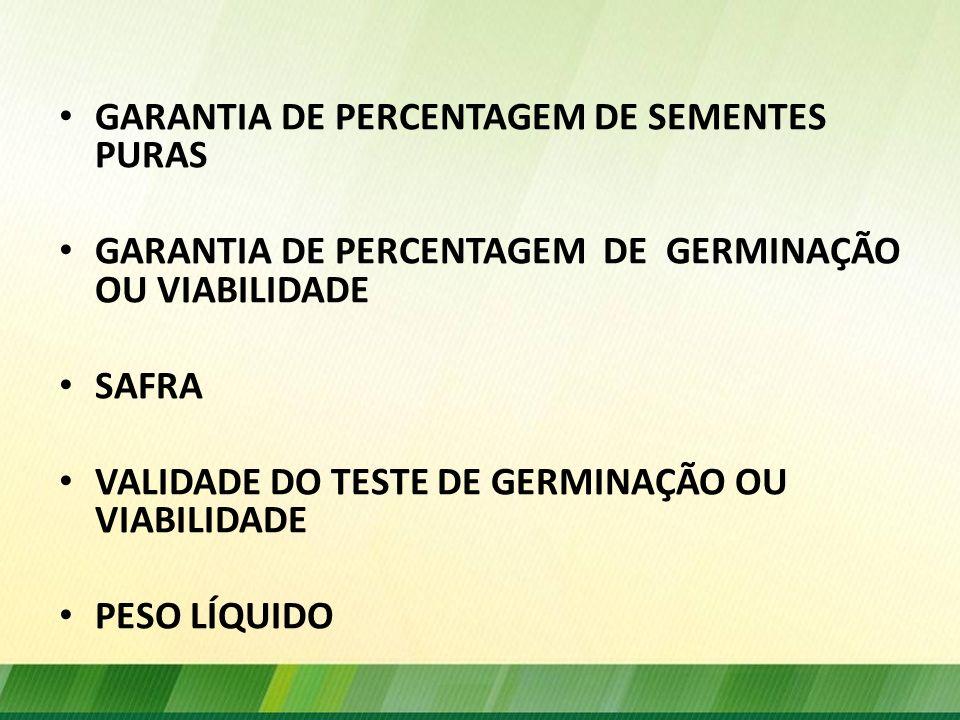 GARANTIA GERMINAÇÃO ÍNDICES DE GERMINAÇÃO OU DE SEMENTES PURAS ACIMA DO PADRÃO – NÃO DEVE CONSTAR O PADRÃO NACIONAL – GARANTIA - RESPONSABILIDADE DO PRODUTOR ou REEMBALADOR (período da validade da análise)