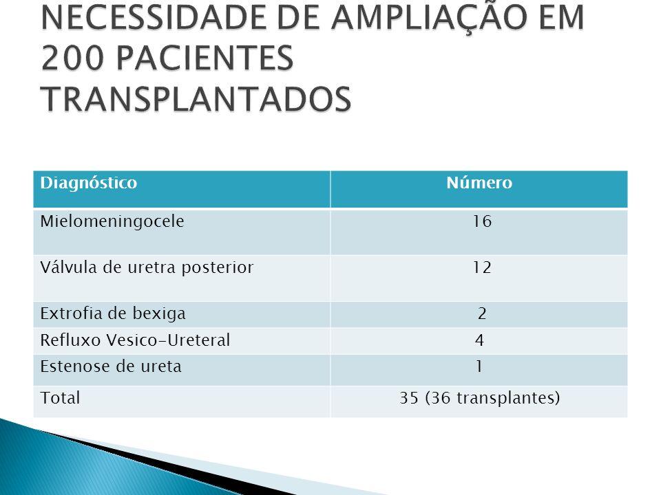 DiagnósticoNúmero Mielomeningocele 16 Válvula de uretra posterior 12 Extrofia de bexiga 2 Refluxo Vesico-Ureteral4 Estenose de ureta1 Total35 (36 tran