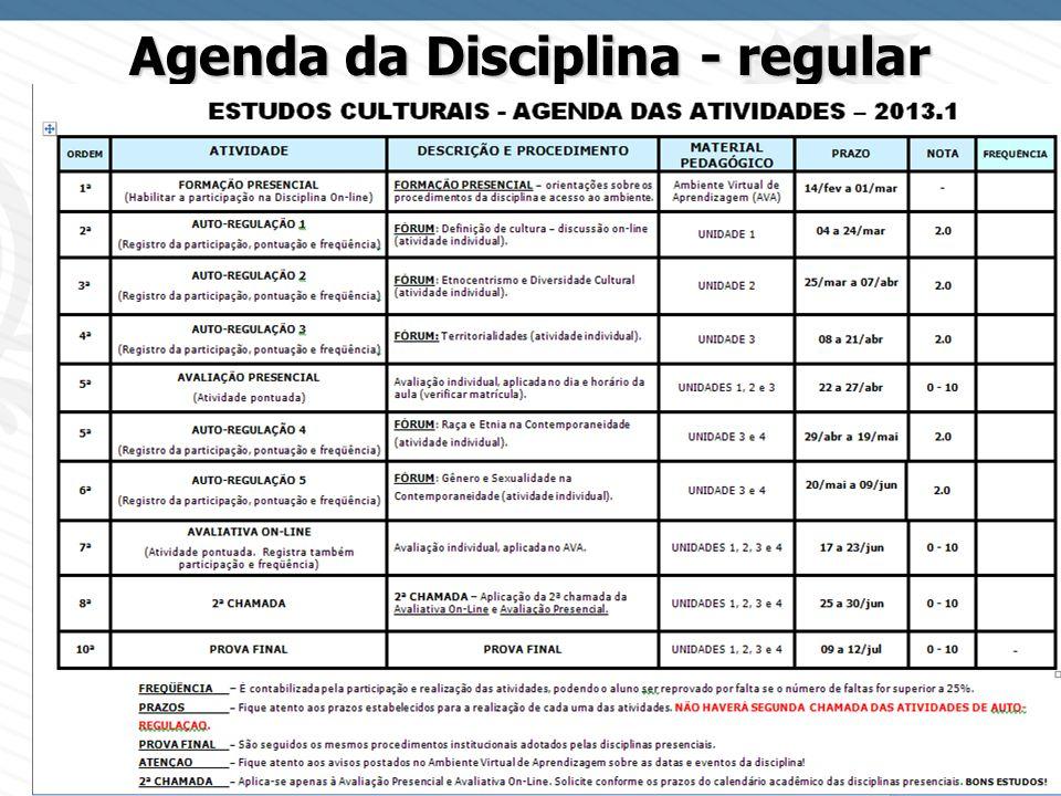 Page 11 Agenda da Disciplina - regular