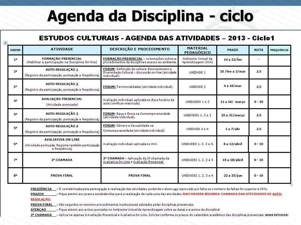 Page 12 Agenda da Disciplina - ciclo