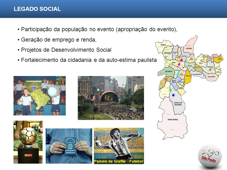 LEGADO SOCIAL Participação da população no evento (apropriação do evento), Geração de emprego e renda, Projetos de Desenvolvimento Social Fortalecimento da cidadania e da auto-estima paulista Painéis de Grafite - Futebol