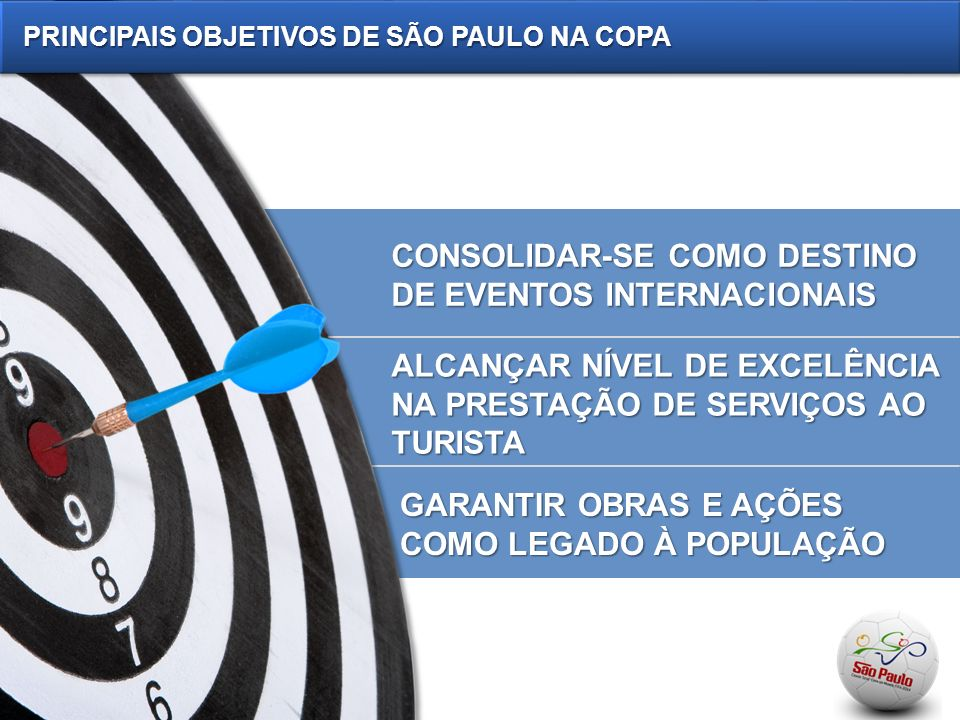 CONSOLIDAR-SE COMO DESTINO DE EVENTOS INTERNACIONAIS ALCANÇAR NÍVEL DE EXCELÊNCIA NA PRESTAÇÃO DE SERVIÇOS AO TURISTA GARANTIR OBRAS E AÇÕES COMO LEGADO À POPULAÇÃO PRINCIPAIS OBJETIVOS DE SÃO PAULO NA COPA