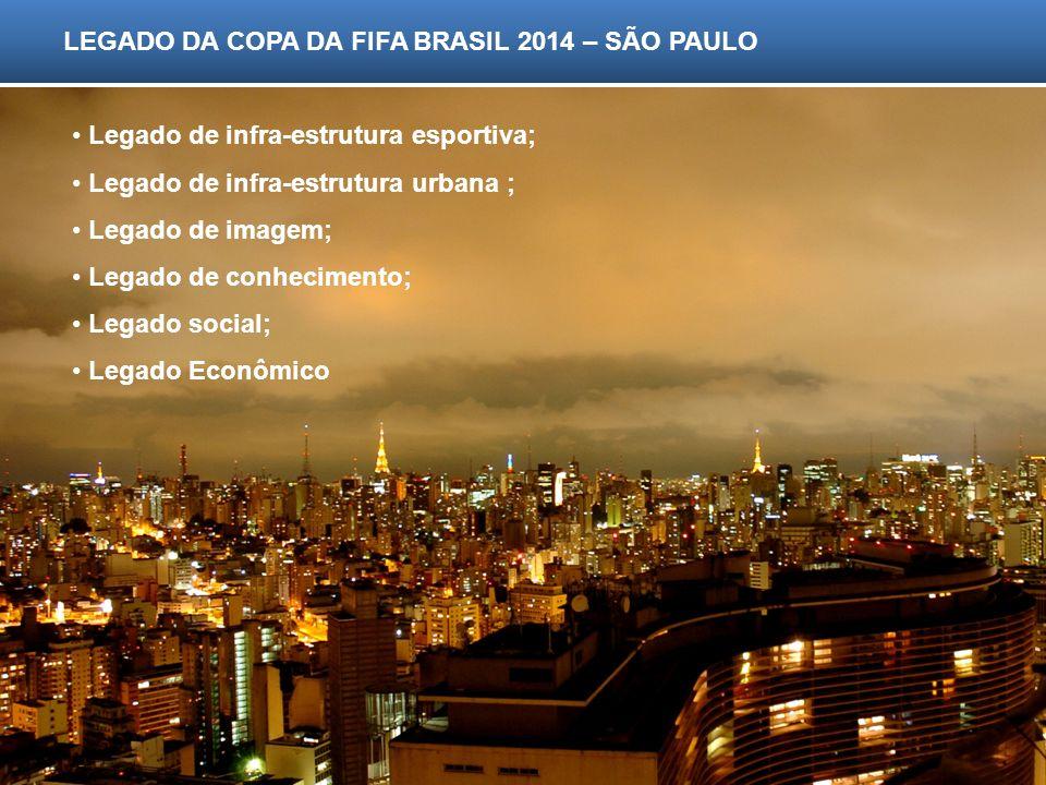 LEGADO DA COPA DA FIFA BRASIL 2014 – SÃO PAULO Legado de infra-estrutura esportiva; Legado de infra-estrutura urbana ; Legado de imagem; Legado de con