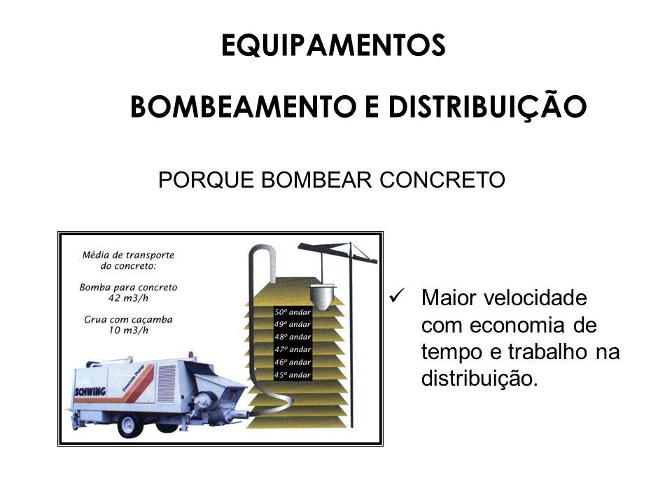 PORQUE BOMBEAR CONCRETO Maior velocidade com economia de tempo e trabalho na distribuição. EQUIPAMENTOS BOMBEAMENTO E DISTRIBUIÇÃO