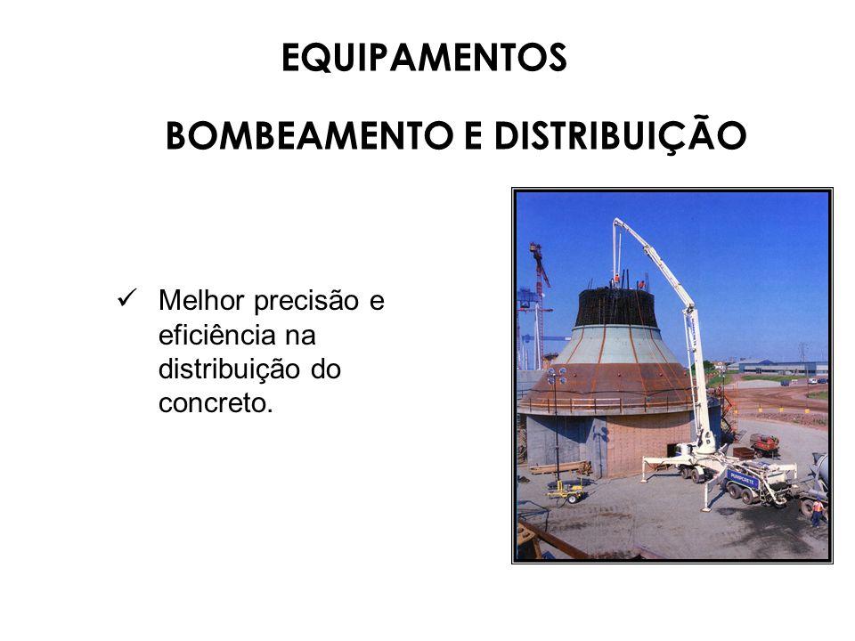 Melhor precisão e eficiência na distribuição do concreto. EQUIPAMENTOS BOMBEAMENTO E DISTRIBUIÇÃO