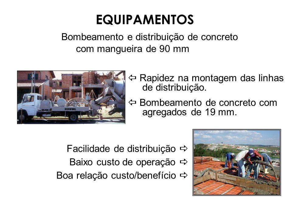 Bombeamento e distribuição de concreto com mangueira de 90 mm Rapidez na montagem das linhas de distribuição. Bombeamento de concreto com agregados de