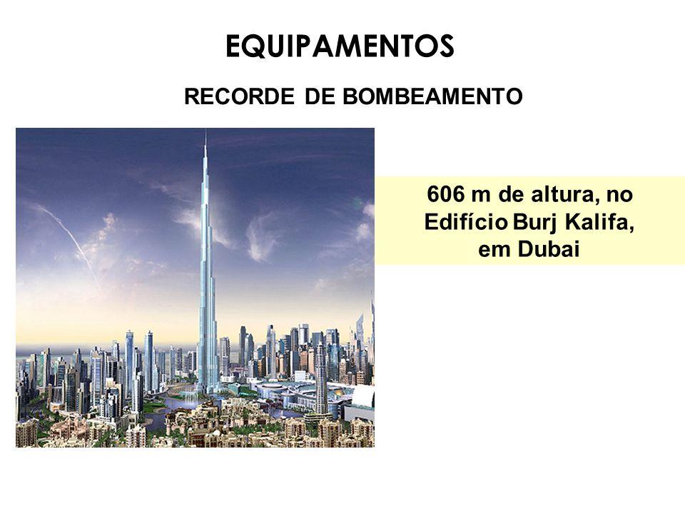 RECORDE DE BOMBEAMENTO EQUIPAMENTOS 606 m de altura, no Edifício Burj Kalifa, em Dubai