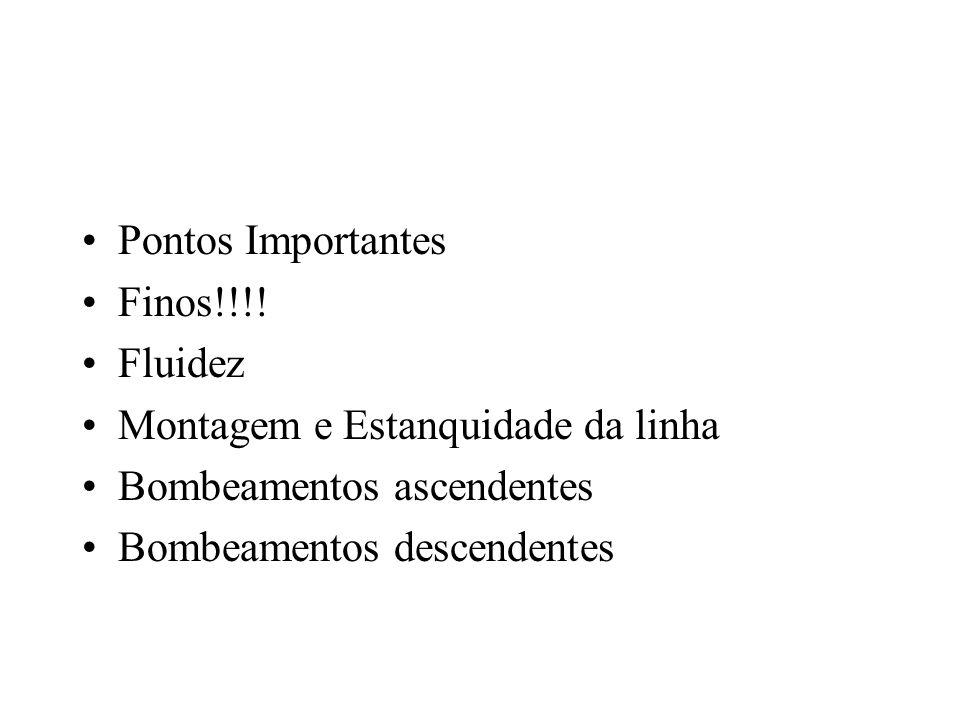 Pontos Importantes Finos!!!! Fluidez Montagem e Estanquidade da linha Bombeamentos ascendentes Bombeamentos descendentes