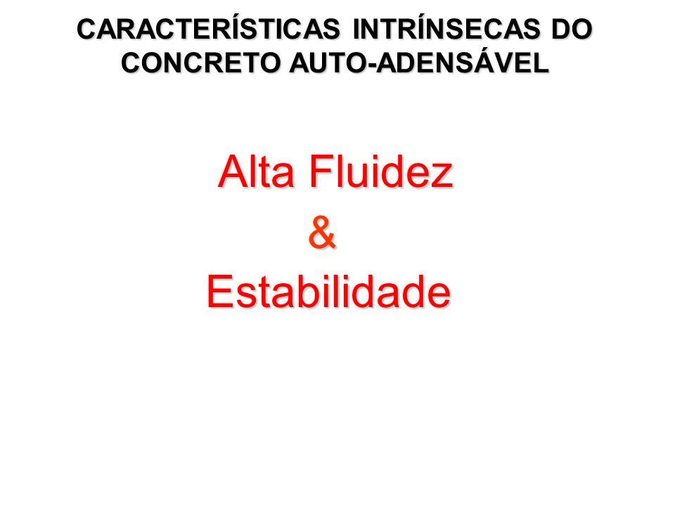 Alta Fluidez Alta Fluidez& Estabilidade Estabilidade CARACTERÍSTICAS INTRÍNSECAS DO CONCRETO AUTO-ADENSÁVEL