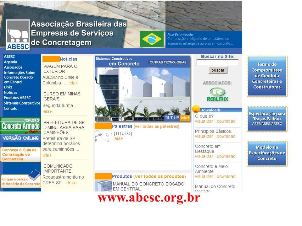 Consumo de Concreto m³/ hab x ano Espanha2,25 Irlanda2,24 Estados Unidos1,14 América Latina0,14 Brasil0,13