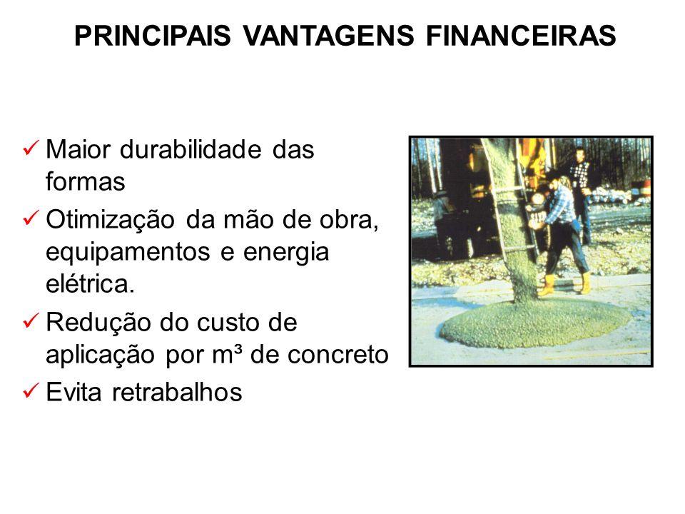 Maior durabilidade das formas Otimização da mão de obra, equipamentos e energia elétrica. Redução do custo de aplicação por m³ de concreto Evita retra