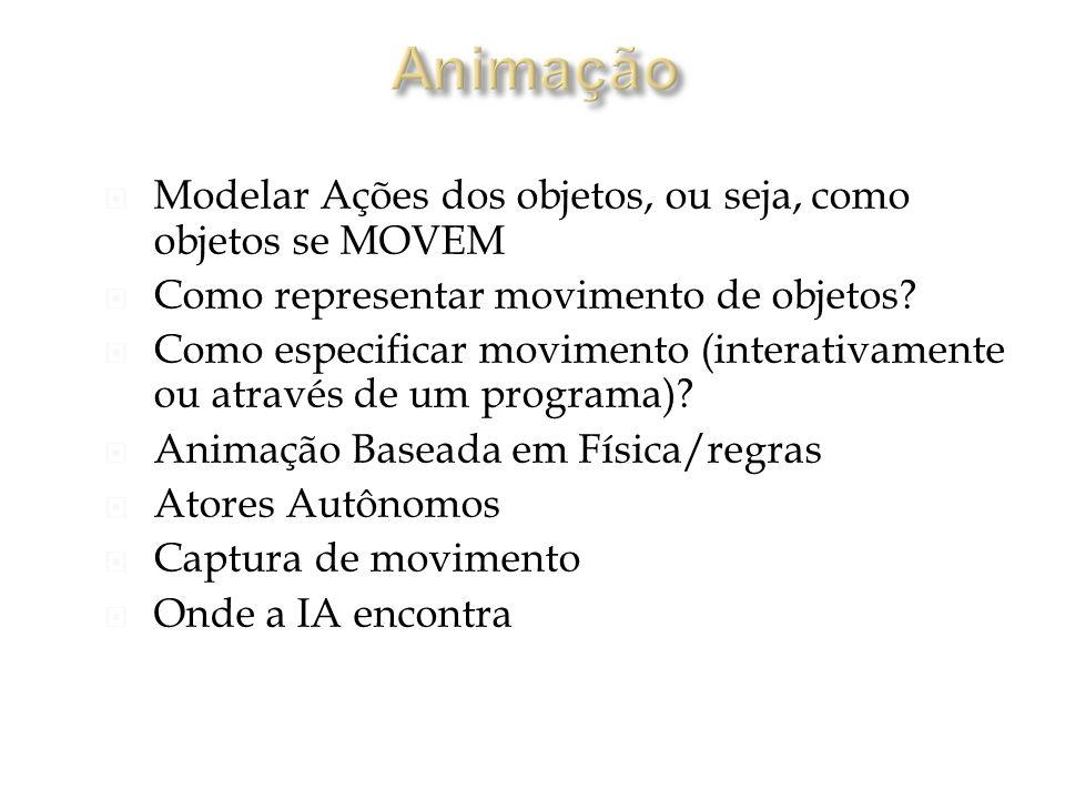 Modelar Ações dos objetos, ou seja, como objetos se MOVEM Como representar movimento de objetos.