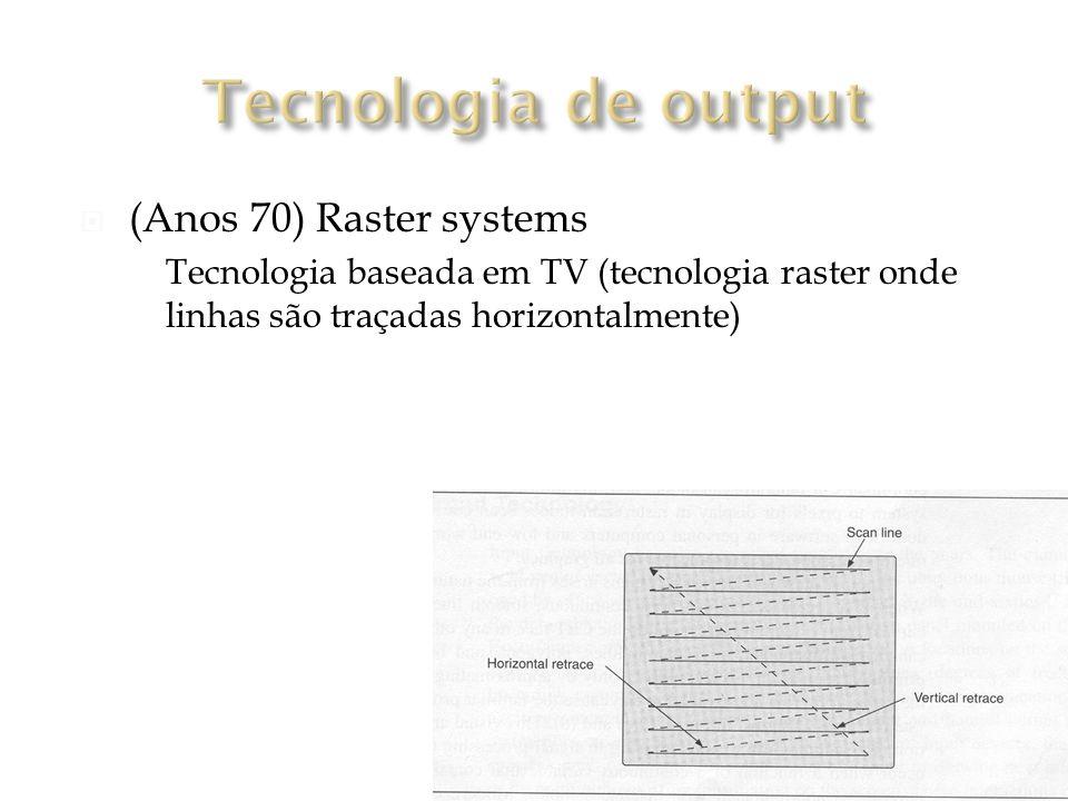 (Anos 70) Raster systems Tecnologia baseada em TV (tecnologia raster onde linhas são traçadas horizontalmente)