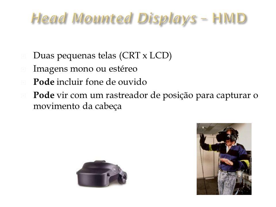 Duas pequenas telas (CRT x LCD) Imagens mono ou estéreo Pode incluir fone de ouvido Pode vir com um rastreador de posição para capturar o movimento da cabeça