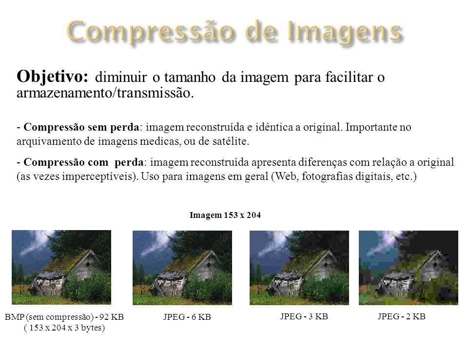 Objetivo: Objetivo: diminuir o tamanho da imagem para facilitar o armazenamento/transmissão.