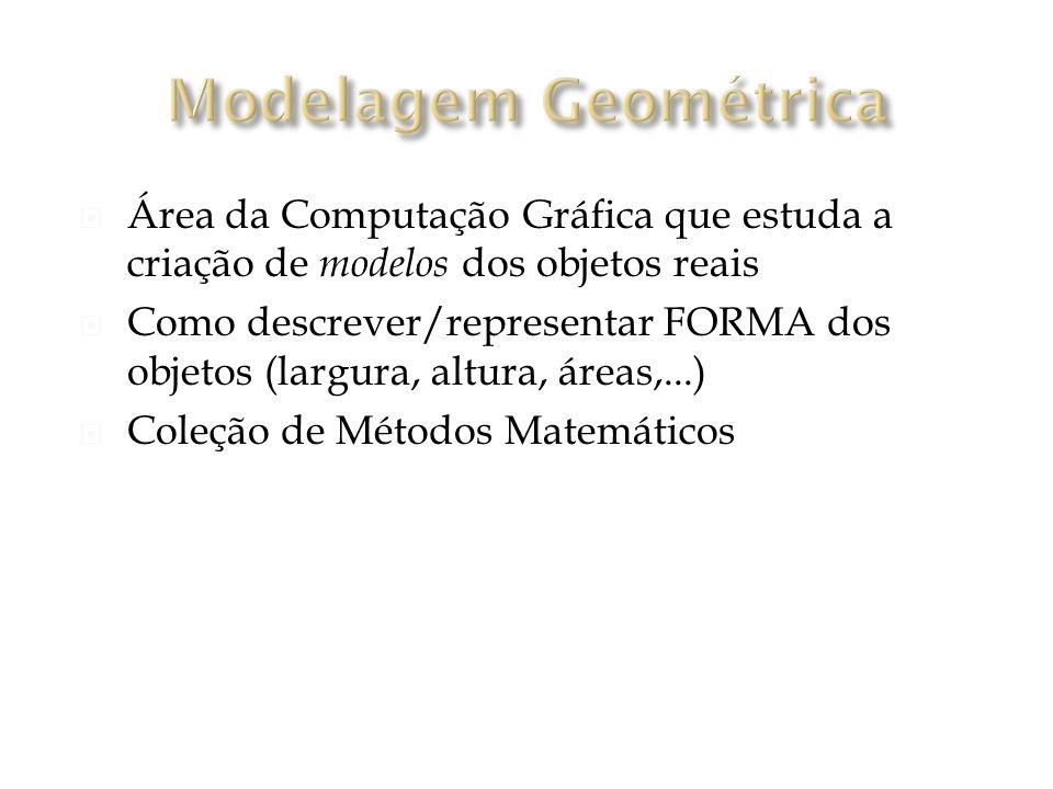 Área da Computação Gráfica que estuda a criação de modelos dos objetos reais Como descrever/representar FORMA dos objetos (largura, altura, áreas,...) Coleção de Métodos Matemáticos
