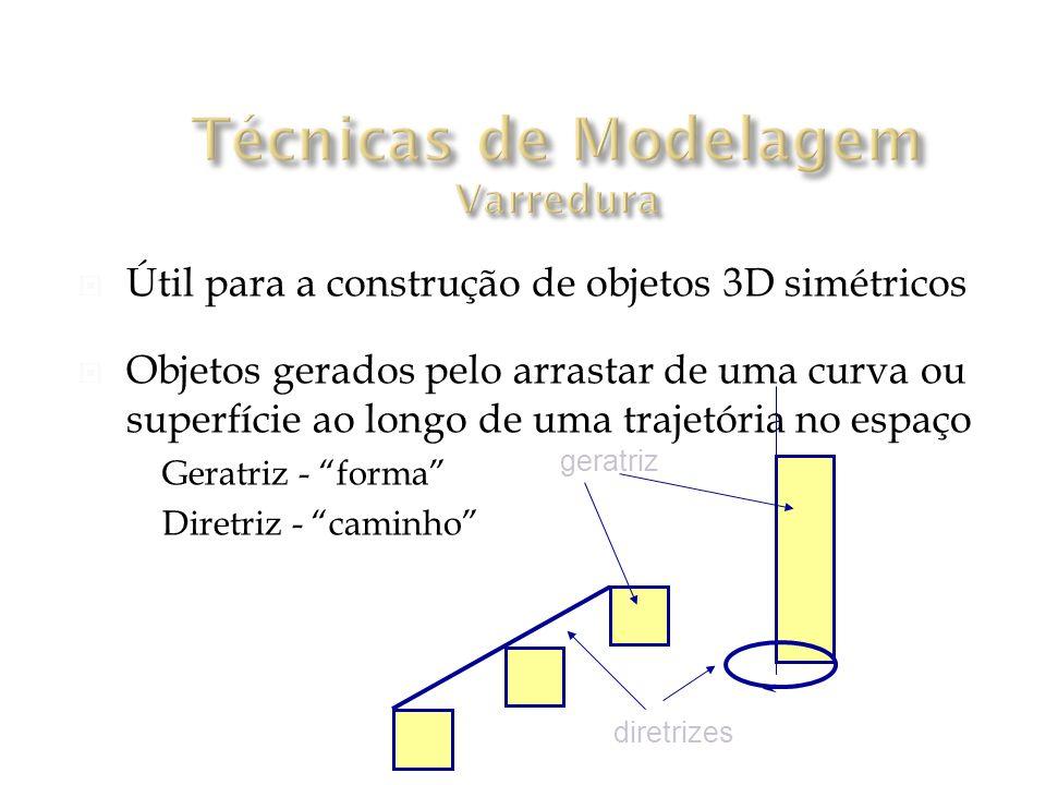 Útil para a construção de objetos 3D simétricos Objetos gerados pelo arrastar de uma curva ou superfície ao longo de uma trajetória no espaço Geratriz - forma Diretriz - caminho geratriz diretrizes