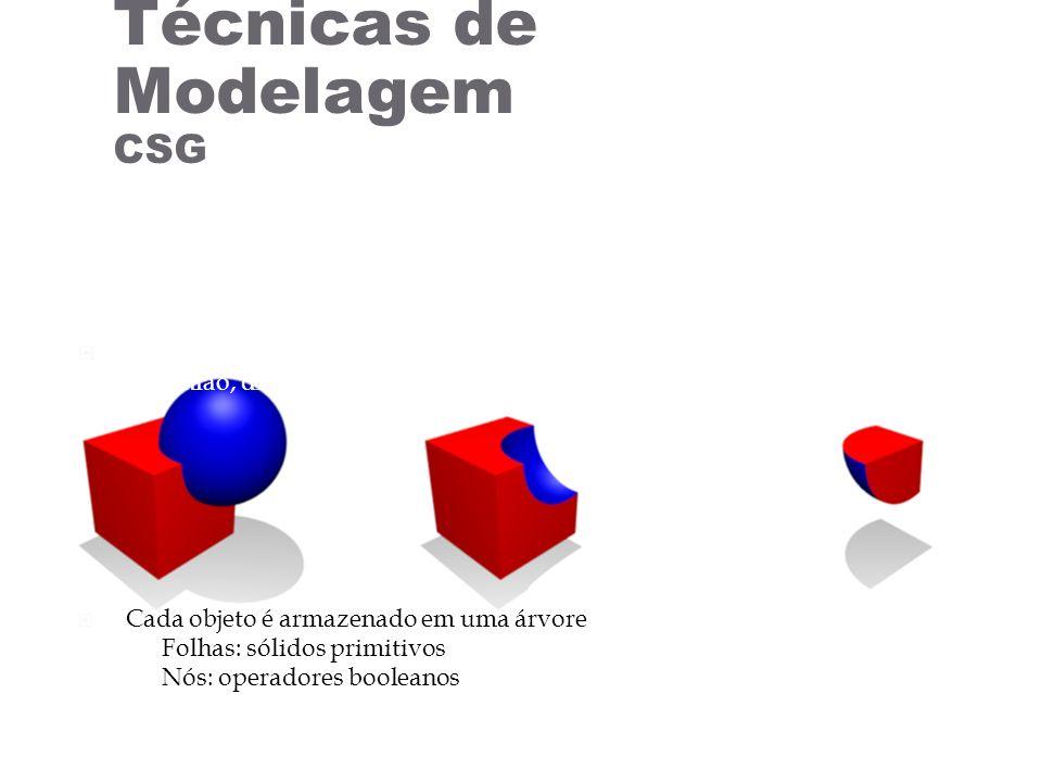 Composição é feita através de operadores booleanos União, diferença, intersecção Cada objeto é armazenado em uma árvore Folhas: sólidos primitivos Nós: operadores booleanos Técnicas de Modelagem CSG http://en.wikipedia.org/wiki/Constructive_solid_geometry