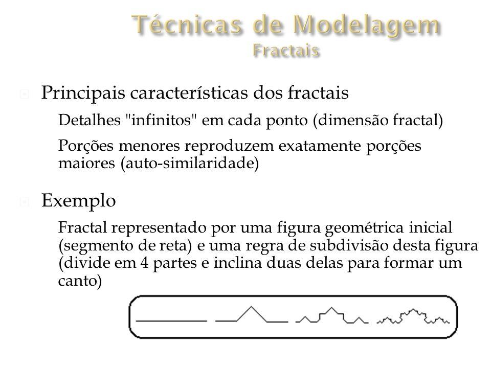 Principais características dos fractais Detalhes infinitos em cada ponto (dimensão fractal) Porções menores reproduzem exatamente porções maiores (auto-similaridade) Exemplo Fractal representado por uma figura geométrica inicial (segmento de reta) e uma regra de subdivisão desta figura (divide em 4 partes e inclina duas delas para formar um canto)