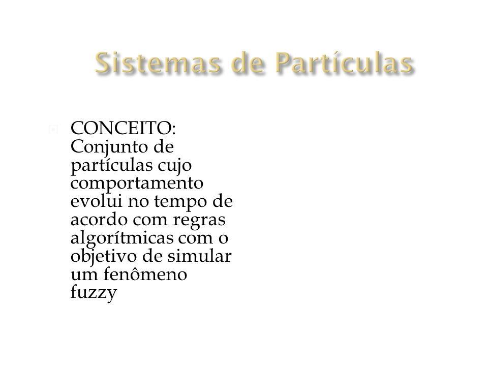 CONCEITO: Conjunto de partículas cujo comportamento evolui no tempo de acordo com regras algorítmicas com o objetivo de simular um fenômeno fuzzy