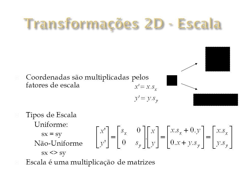 Coordenadas são multiplicadas pelos fatores de escala Tipos de Escala Uniforme: sx = sy Não-Uniforme sx <> sy Escala é uma multiplicação de matrizes