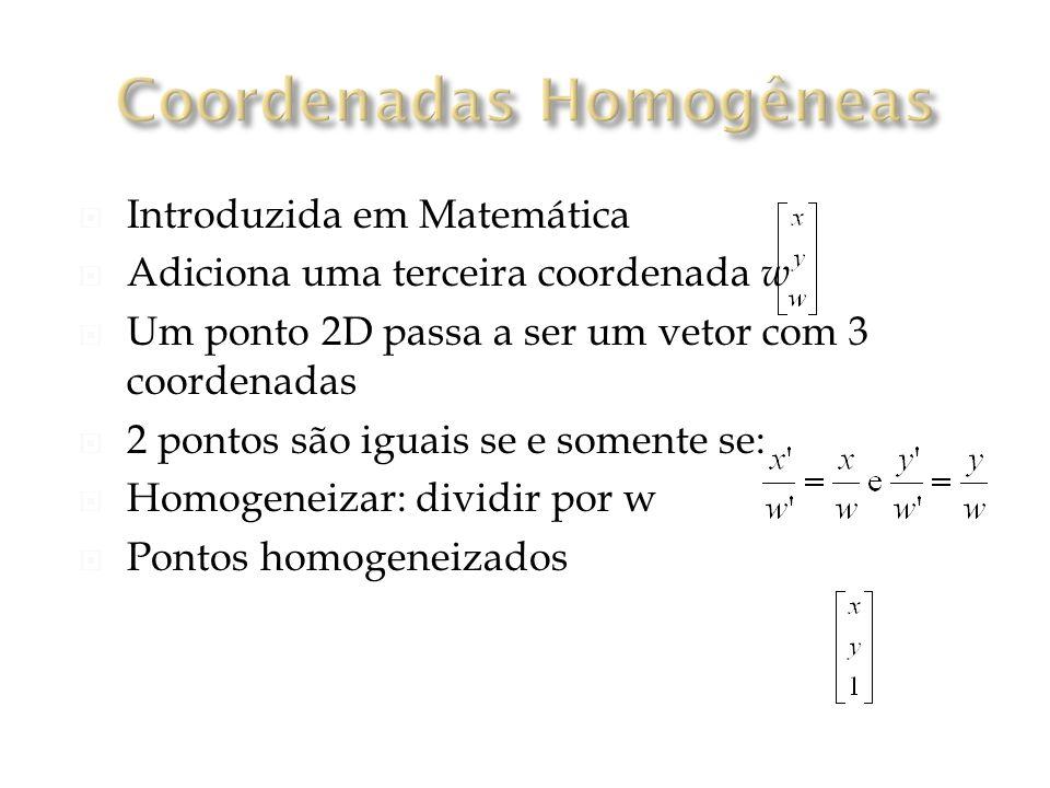 Introduzida em Matemática Adiciona uma terceira coordenada w Um ponto 2D passa a ser um vetor com 3 coordenadas 2 pontos são iguais se e somente se: Homogeneizar: dividir por w Pontos homogeneizados:
