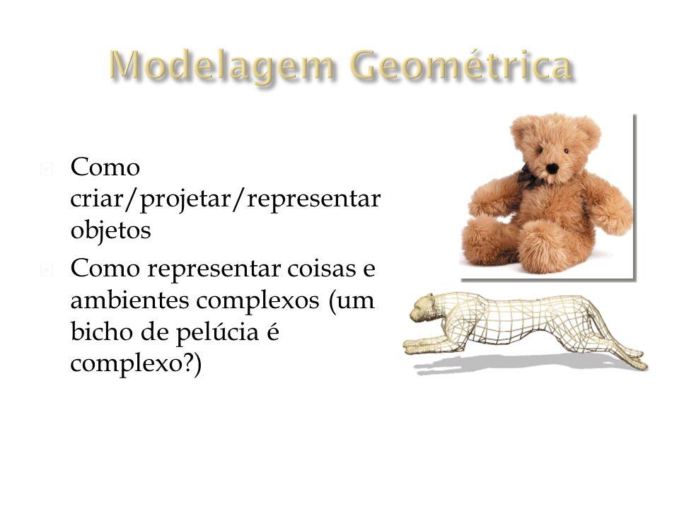 Como criar/projetar/representar objetos Como representar coisas e ambientes complexos (um bicho de pelúcia é complexo?) Coleção de vértices, conectados por arestas, formando polígonos