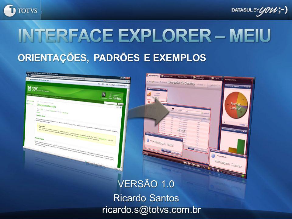 ORIENTAÇÕES, PADRÕES E EXEMPLOS VERSÃO 1.0 Ricardo Santos ricardo.s@totvs.com.br