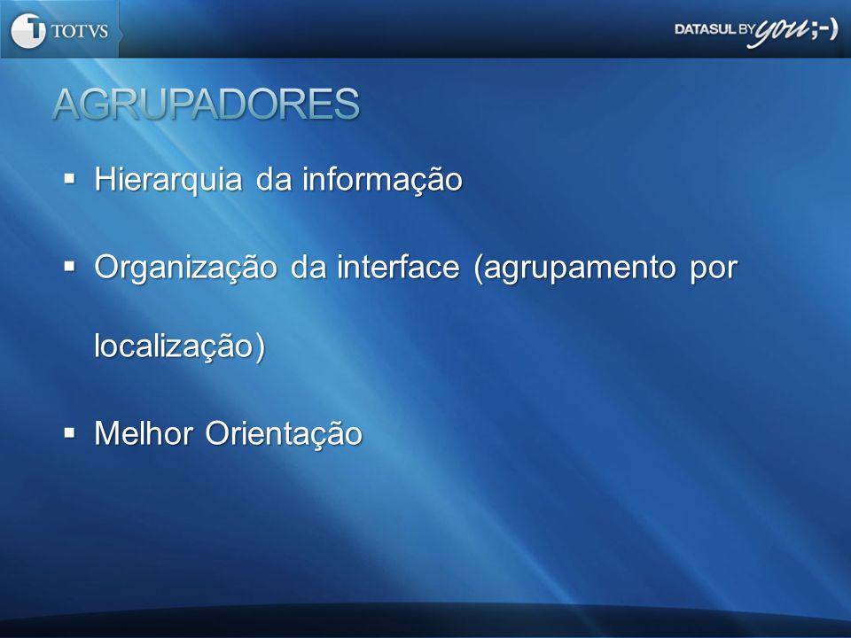 Hierarquia da informação Hierarquia da informação Organização da interface (agrupamento por localização) Organização da interface (agrupamento por loc