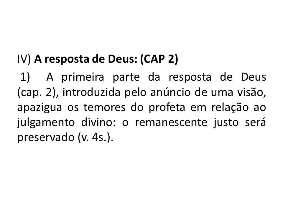 IV) A resposta de Deus: (CAP 2) 1) A primeira parte da resposta de Deus (cap. 2), introduzida pelo anúncio de uma visão, apazigua os temores do profet