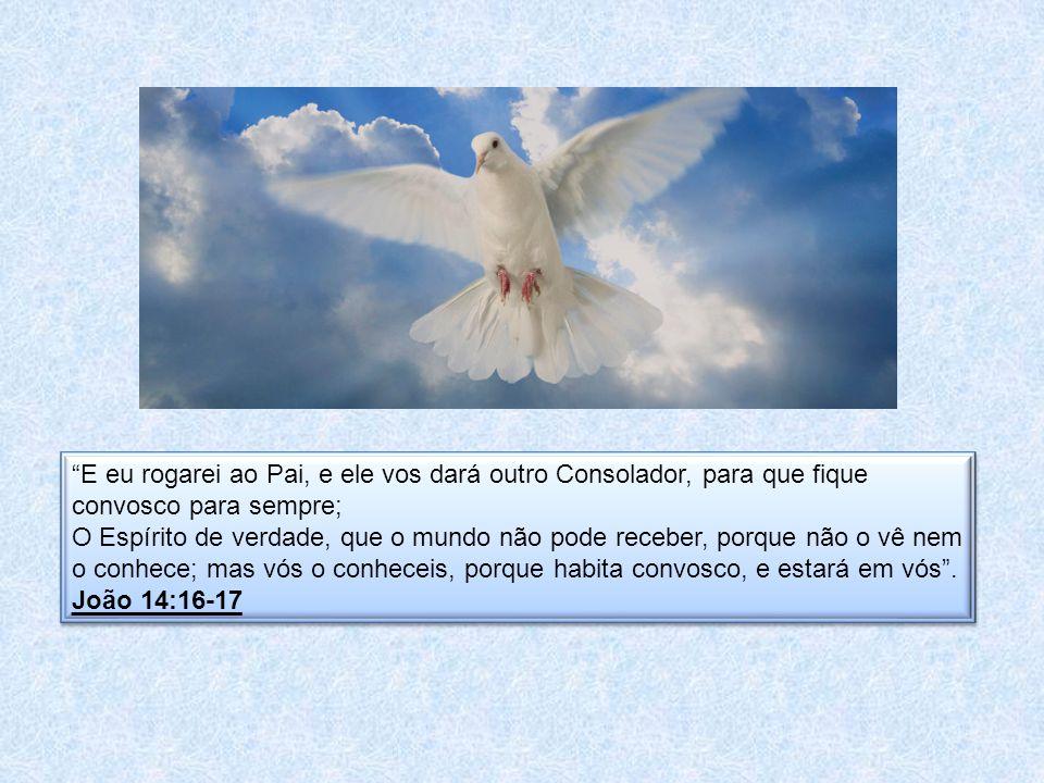 E eu rogarei ao Pai, e ele vos dará outro Consolador, para que fique convosco para sempre; O Espírito de verdade, que o mundo não pode receber, porque não o vê nem o conhece; mas vós o conheceis, porque habita convosco, e estará em vós.
