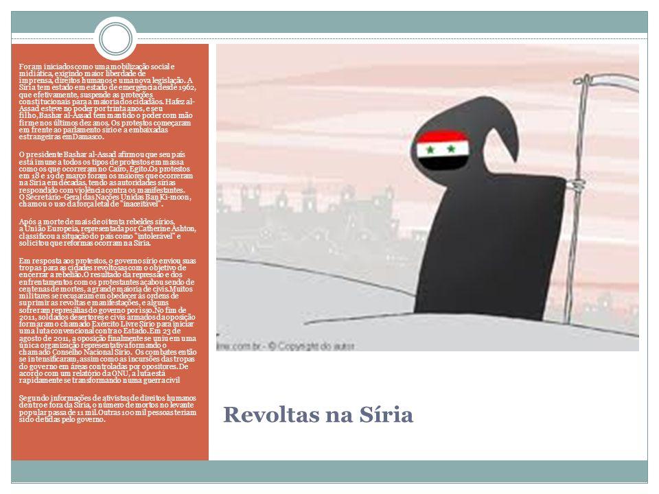 Revoltas na Síria Foram iniciados como uma mobilização social e midiática, exigindo maior liberdade de imprensa, direitos humanos e uma nova legislaçã