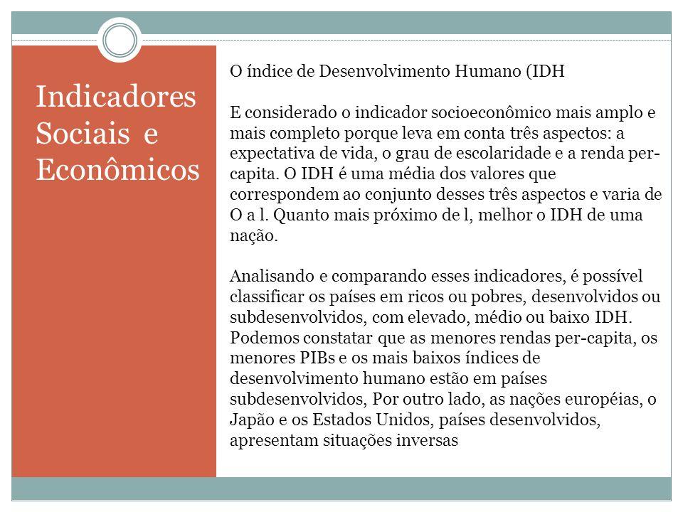 O índice de Desenvolvimento Humano (IDH E considerado o indicador socioeconômico mais amplo e mais completo porque leva em conta três aspectos: a expe